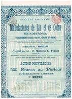 Action Ancienne - Sté Anonyme Des Manufactures De Lin Et De Coton De Kostroma - Titre De 1899 - - Russie