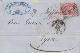 LETTRE ITALIE. 15 MAG 67. 40c.  28 TORINO POUR LYON. PD. ITALIE LANSLEBOURG 4  /  3 - 1861-78 Victor Emmanuel II.
