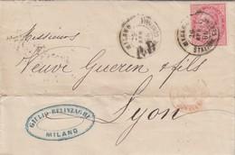 LETTRE ITALIE. 26 APR 66. 40c.  MILANO POUR LYON. PD. ITALIE LANSLEBOURG 4  /  3 - 1861-78 Victor Emmanuel II.