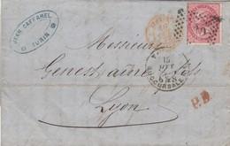 LETTRE ITALIE. 15 AOUT 72. 40c.  30 TORINO POUR LYON. PD. ITALIE LANSLEBOURG 4  /  3 - 1861-78 Victor Emmanuel II.