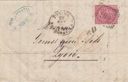 LETTRE ITALIE. 28 NOV 73. 40c.  189 TORINO POUR LYON. PD. ITALIE LANSLEBOURG 4  /  3 - 1861-78 Victor Emmanuel II.
