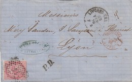 LETTRE ITALIE. 23 FEB 70. 40c.  14 LIVORNO POUR LYON. PD. ITALIE LANSLEBOURG 4  /  3 - 1861-78 Victor Emmanuel II.
