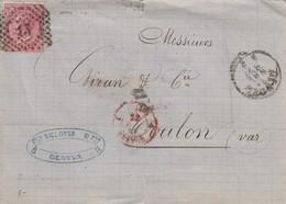 LETTRE ITALIE. 21 NOV67. 40c. 13 GENOVA POUR LYON. PD. ITALIE LANSLEBOURG 4  /  3 - 1861-78 Victor Emmanuel II.