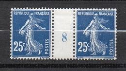 Timbre De France N° 140 Millésime 1908 * 25 Cts Semeuse Neuf* Avec Trace De Charnière - Millésimes