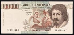 100000 Lire CARAVAGGIO 1° TIPO SERIE E 1992 Bb+ LOTTO 2978 - [ 2] 1946-… Republik