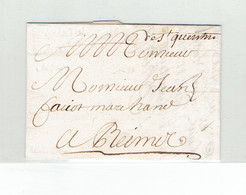 MARCOPHILIE DPT AISNE - 1694 - LETTRE MARQUE MANUSCRITE DE ST QUENTIN - 17 JUILLET 1694 - SUPERBE - Marcophilie (Lettres)