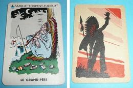 Rare Ancienne Carte De Jeu Des 7 Familles, Les Indiens Indien D'Amérique, Chef Calumet Grand-père - Group Games, Parlour Games