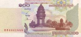 Cambodia 100 Riel, P-53 (2001) - UNC - Serial Number 4441888 - Kambodscha