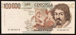 100000 Lire Caravaggio I° Tipo 1993 F  Q.fds Ottimo Biglietto LOTTO 3001 - [ 2] 1946-… : Repubblica