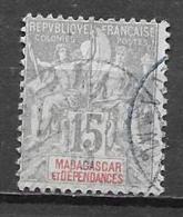 44   OBL  Y  & T Cachet Rond Type Groupe  Colonie Française *MADAGASCAR*  12A - Madagascar (1889-1960)