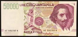 50000 Lire BERNINI II° TIPO SERIE E 1999 Q.fds/fds  LOTTO 3003 - 500 Lire