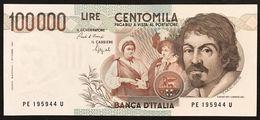 100000 Lire CARAVAGGIO 1° TIPO SERIE E 1992 Q.fds LOTTO 3004 - [ 2] 1946-… : Républic