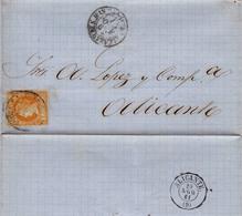 Año 1860 Edifil 52 Sello 4 C De Isabel II  Envuelta  Matasellos Tipo I Alcazar De San Juan Ciudad Real A Alicante - 1850-68 Reino: Isabel II