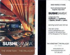 The Venetian - The Palazzo – SushiSamba 03348-1897 ----key Card, Room Key, Schlusselkarte, Hotelkarte - Cartas De Hotels