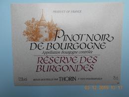 """Etiquette Neuve De Vin De BOURGOGNE """" PINOT NOIR DE BOURGOGNE  """" - Bourgogne"""