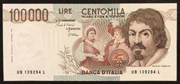 100000 Lire Caravaggio I° Tipo Serie B 1985 Q.fds Lotto.3006 - 10000 Lire
