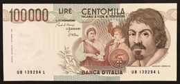 100000 Lire Caravaggio I° Tipo Serie B 1985 Q.fds Lotto.3006 - [ 2] 1946-… : République