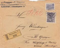 COVER AUSTRIA. 1922. REGISTERED KLAGENFURT TO ST GEORGEN  /  3 - Briefe U. Dokumente