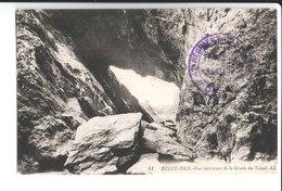 Belle Isle.Vue Intérieure De La Grotte Du Talud. De René Couleuvre ? 42ème Rt Art 65ème Bat Pontivy à Mme Limon Paris 20 - Belle Ile En Mer
