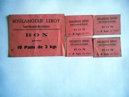 LOT DE 5 BON POUR ACHAT DE PAIN   BOULANGERIE LEROY DUPONT SAINT GERMAIN DE COULAMER MAYENNE - Bons & Nécessité