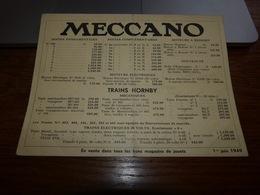 Ancien Tarif Meccano 1949 Trains Hornby Dinky Toys Supertoys - Belgique - Oude Documenten