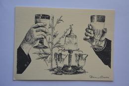 Faisant Office De Carte Double-signee Alain Barré-fontaine A Absinthe-buveurs Trinquant-theme Absinthe-voir Scans - Illustrators & Photographers