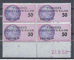 FRANCE FISCAUX VIANDES 50 Kg ** Bloc De 4 Timbres Coin Daté Du 27.5.59 - Revenue Stamps
