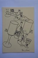 Faisant Office De Carte Double-signee Alain Barré-cuillere,verre,fontaine A Absinthe-theme Absinthe-voir Scans - Illustrators & Photographers