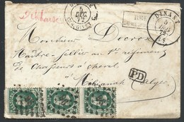 Envel. Affr. N°30 X3 Lpts 96 DINANT/5/DEC/72 + RELAIS/DE MESNIL ST BLAISE Pour Mélianah Algérie. Seule Pièce Connue - 1869-1883 Leopold II
