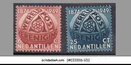 NETHERLAND ANTILLEN ANTILLES 1949 75th Anniversary Of UPU - 2V - MLH - UPU (Unione Postale Universale)