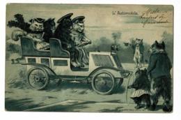 Carte Illustrée & Gauffrée - L'Automobile - Chats Conduisant Un Coupé, Mendiant, Passants, Cerceau - Circulé 1903 - Animali Abbigliati
