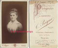 CDV Joli Portrait De Femme-photographe C. Peigné à Tours - Fotos