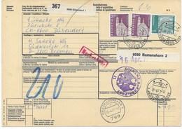 SCHWEIZ  PAKETKARTE VON DÜBENDORF NACH BREMEN  1977  NACHGEBÜHR - Brieven En Documenten