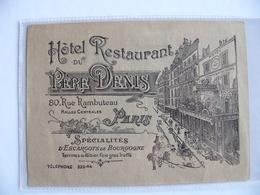 Publicité Papier Hôtel Restaurant Du Père Denis Rue Rambuteau Paris Spécialités D'escargots De Bourgogne - Publicités