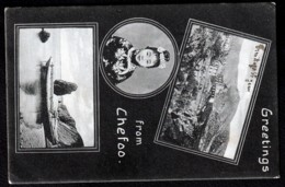 RARE CPA ANCIENNE CHINE- GREETINGS FROM CHE FOO - CPA SOUVENIR- 3 VUES DONT HERMITAGE ST JEAN- 2 SCANS - China