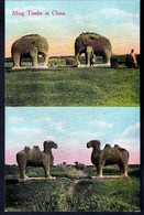 RARE CPA ANCIENNE CHINE- TOMBES MING  2 VUES- ELEPHANTS ET CHAMEAUX- ANIMATION - China