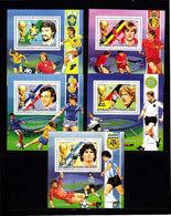 Soccer World Cup 1986 - C.-AFRICA - 5 S/S De Luxe MNH - Coupe Du Monde