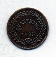VATICANO, 1 Quattrino, Copper, Year 1835, KM #1318 - Vaticano (Ciudad Del)