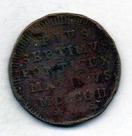 VATICANO, 1/2 Baiocco, Copper, Year 1802, KM #1265 - Vaticano (Ciudad Del)