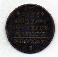 VATICANO, 1/2 Baiocco, Copper, Year 1816-B, KM #1278 - Vaticano (Ciudad Del)