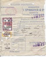 REF47/ Bulletin D'Expédition Messageries Spinhayer+Vignettes De La Messagerie Bruxelles 4/12/1906 Remboursement > Namur - Belgique