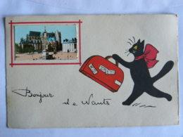 CPA (44) Loire Atlantique - Bonjour De NANTES - Chat Tenant Une Valise - Illustrateur René - Nantes