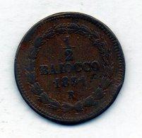 VATICANO, 1/2 Baiocco, Copper, Year 1851-R, KM #1355 - Vaticano