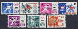USSR Russia 1964 Olympic Games Innsbruck Set Of 7 With Winners Overprint MNH - Winter 1964: Innsbruck