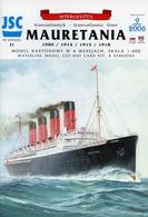 Ocean Liner RMS Mauretania 1909 / 1914 / 1915 / 1918 # Scale 1/400 # JSC 21 - Kartonnen Modellen / Lasercut