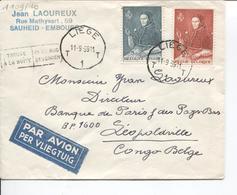 REF48/ TP 1109/1110 S/L.Avion Entête Jean Laoureux Sauheid-Embourg C.Liège 11/9/59 Gff Trouvé Boîte > Congo Belge - Luftpost