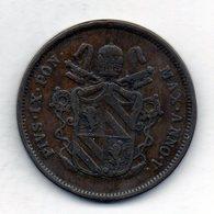 VATICANO, 2 Baiocchi, Copper, Year 1851-R, KM #1344 - Vaticano