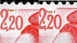 N° 2376**_2376a**_Type I Carmin_type II Rouge_phospho Jaune_papier ???_(v751) - 1982-90 Liberté De Gandon