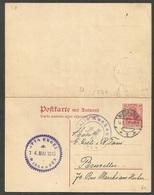 Seltene Internationale Fragekarte 10 Pf. Rot Aus 1915, Michel 93, Wiesbaden Nach Bruxelles (Brüssel), Mit Zensur - Alemania