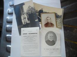 FRAMERIES ( MONS BORINAGE ) - LOT UNIQUE 3 PHOTOS + 2 SOUVENIRS - ABBE PAUL SQUELARD - CURE DU SACRE COEUR - Documents Historiques